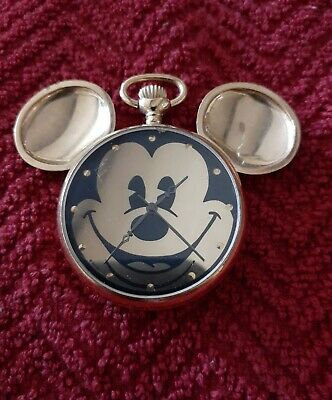 Disney Time Works Mickey Mouse Open Face Pocket Watch W/ Brand New Battery...