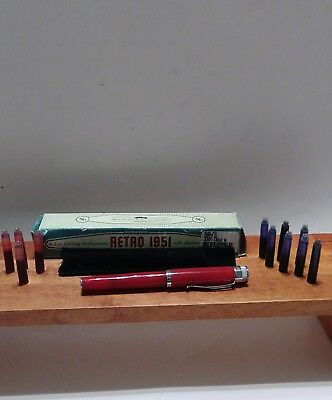 Retro 1951 Tornado Fountain Pen red used Extra ink (11) refill