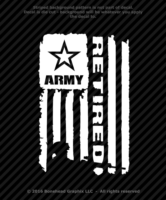 Home Decoration - Military Retired AR Distressed Flag XS-M Vinyl Decal Combat Veteran Sticker
