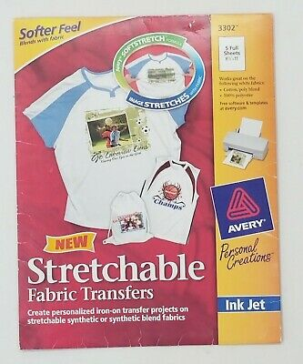 Avery 3302 Printable Stretchable Transfer Sheets 5pc Print On Tshirts T-tshirts