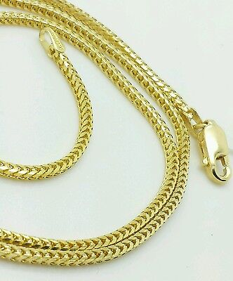 14k Solid Yellow Gold Square Box Franco Chain Necklace 16