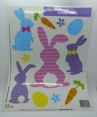 Easter Spring Window Decoration Clings Reusable Polka Dots Striped Bunnies Eggs](Spring Window Clings)