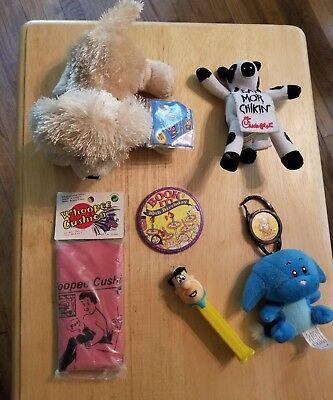 Toy lot Chick Fil A Webkinz Neopets Flintstones Pez Whoopee Cushion Book It Pin