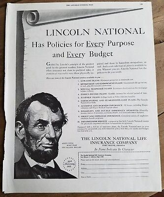 1955 Lincoln National Life Insurance Co Policies Every Purpose Budget Ad