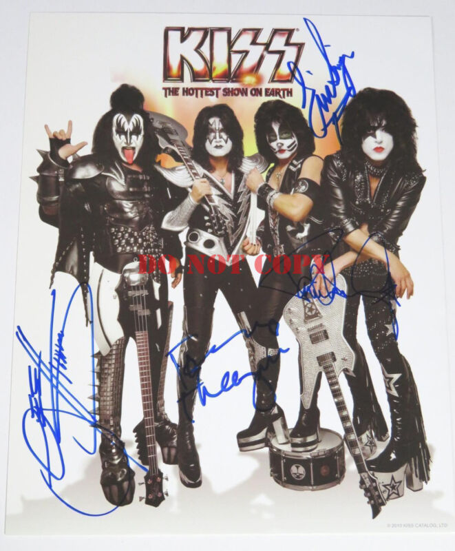 KISS Signed Autograph 8x10 Photo by All 4 Members Paul Stanley, Gene Simmons