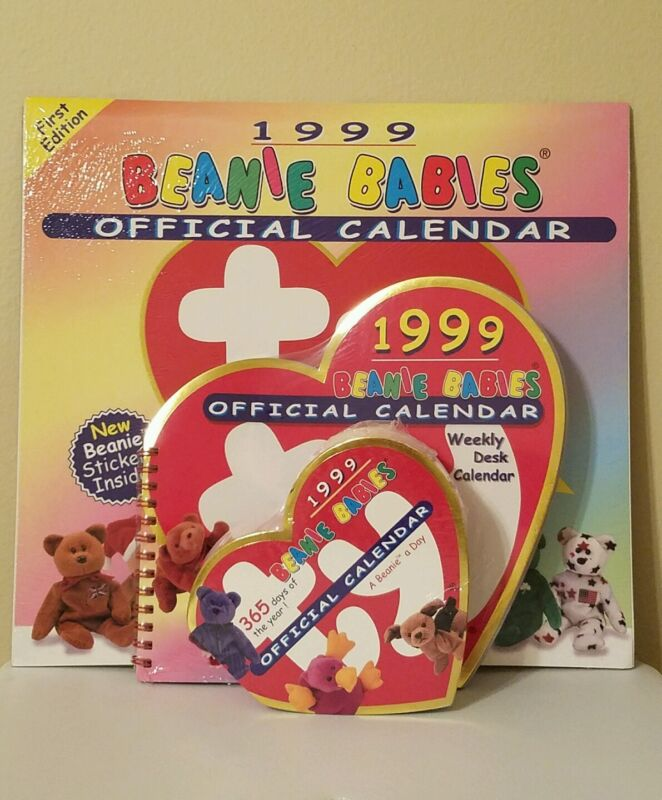 1999 OFFICIAL BEANIE BABIES CALENDAR, WEEKLY DESK CALENDAR, AND 365 days of year