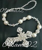 ❤ Bling Shamballa Dummy Clip Diamante Cross Romany❤christening Ivory - clipalicous - ebay.co.uk