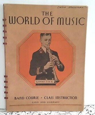 B-flat Clarinet Music Book - The World Of Music B Flat Clarinet III Instruction Book Band Course 1937 Ginn