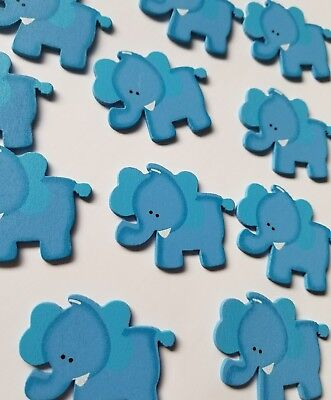 Baby Elephant Cut Out (30pcs Baby Shower small elephant wooden cut out blue)