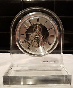 London Clock - All Glass Skeleton Mantel Clock