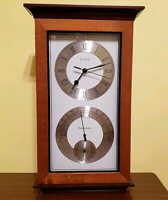 Bulova C3760 Yarmouth Maritime Wall Clock Hygrometer Thermometer Walnut Mahogany