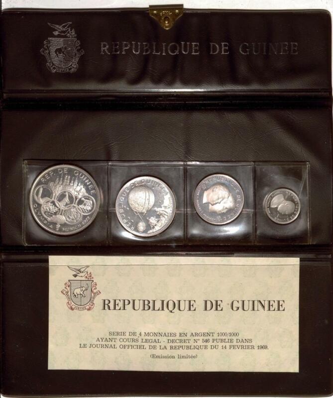 Republique De Guinee 1968 Proof Set | 4 Coins | Silver | 500 to 100 Francs