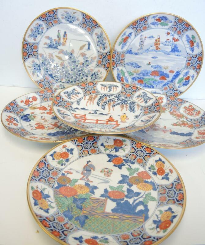 """Six Vintage Chinese 9"""" Scenic Garden Plates"""