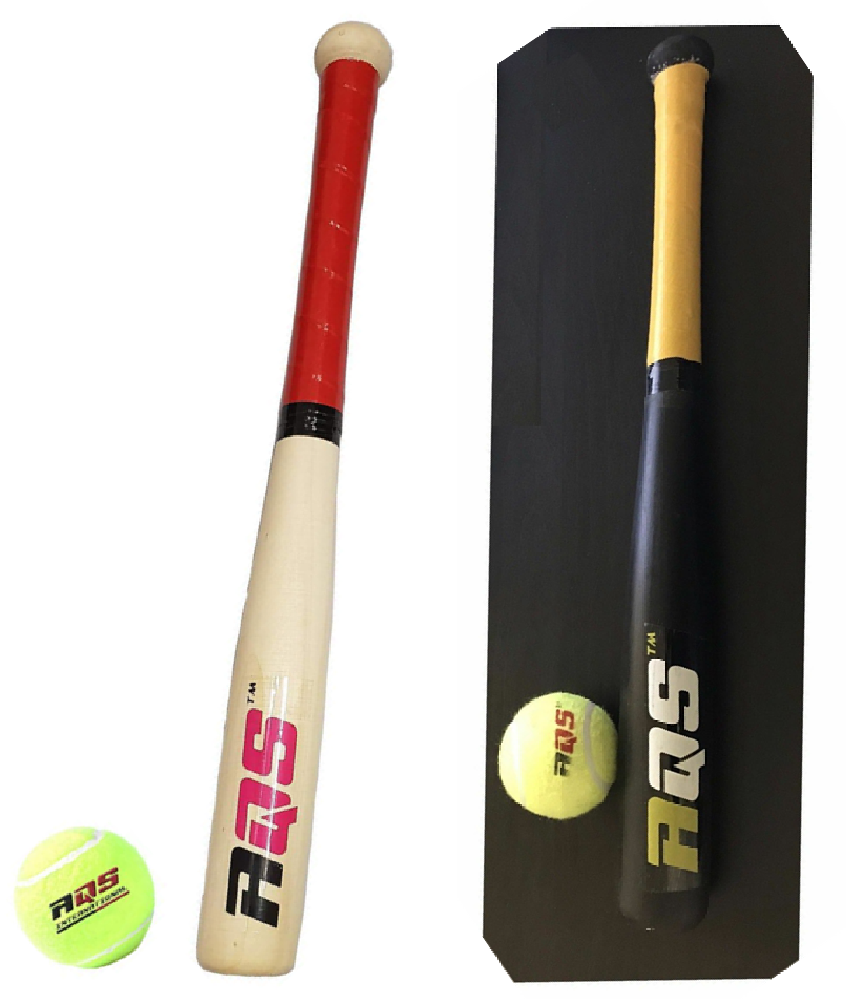 Details About Wooden Baseball Bat Rounder With Tennis Ball Sports Outdoor Kids Top Quality 17