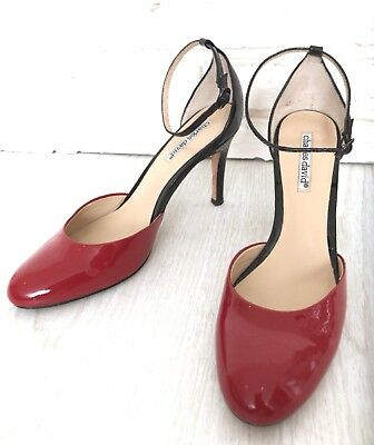 - Charles David Lipstick Red And Black patent leather mary jane heel pumps 7.5B