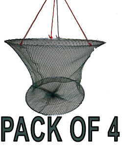 Pack of 4 Drop Net / Yabbie Net DELUXE with 2 Rings