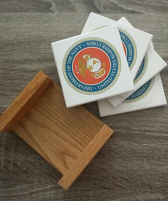 Dept Of The Navy United States, Ceramic Tile Coasters, Set Of 4 With Wood Holder