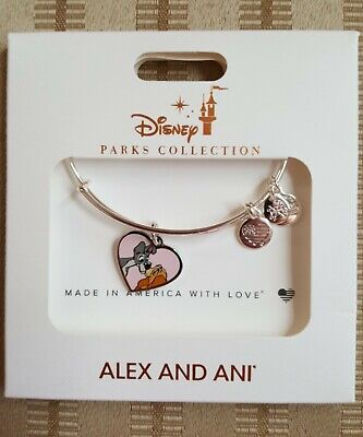Disney Parks Alex and Ani Lady and the Tramp Charm Bracelet Silver New