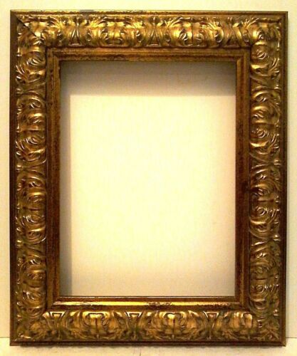 "12 X 16 STANDARD PICTURE FRAME 3 1/2"" WIDE GOLD LEAF CARVED REVERSE canvas allow"