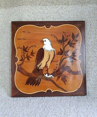 Vintage Wood Marquetry Picture Of Eagle and Salmon