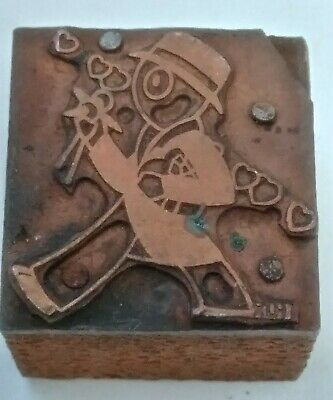 Letterpress Printing Printer Block Wood Copper Metal Type Man With Flowers Heart