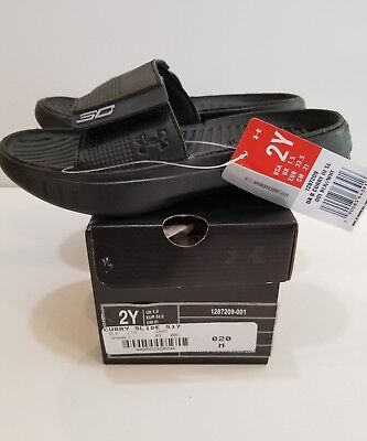 NEW WITH BOX UNDER ARMOUR BLACK UA STEPHEN CURRY III SLIDES SANDALS SZ 2 YOUTH