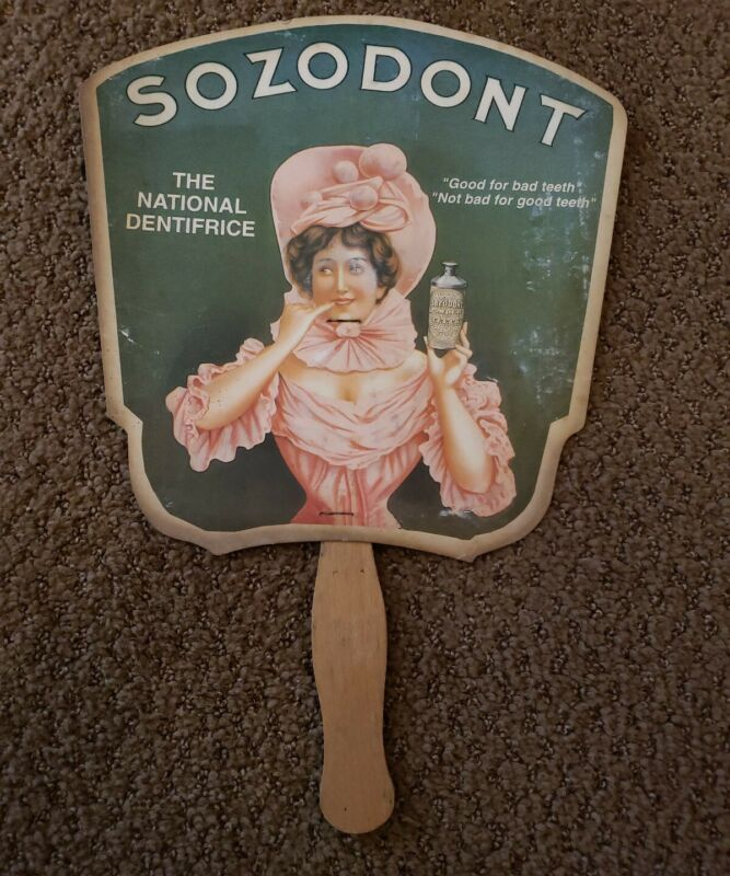 SOZODONT VINTAGE ADVERTISING MEDICINE FAN FOR THE TEETH