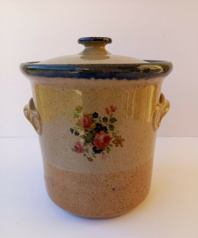Monroe Salt Works Pottery Chippendale Rose Canister Crock w/Lid