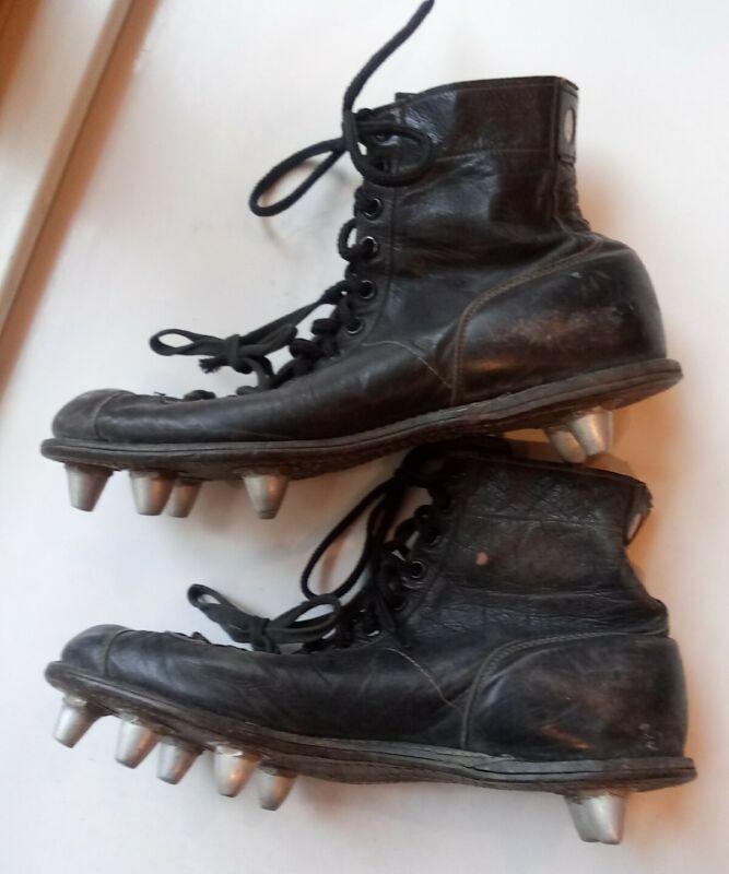 Vintage 1960s? Spot Bilt Leather Football Shoes Removable Cleats