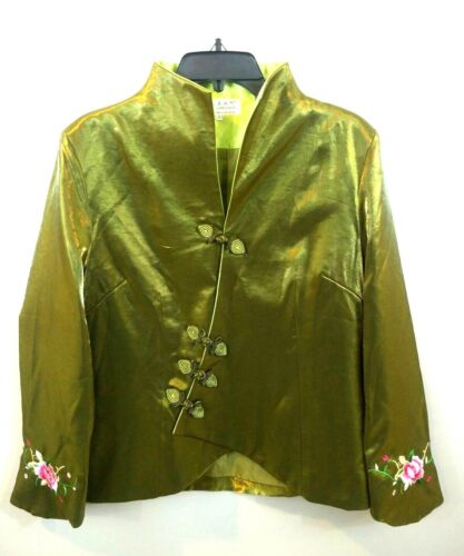Laogudai Womens 40 Emerald Green Mandarin Oriental Chinese Embroidery Jacket