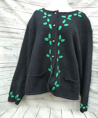Tally Ho Christmas Cardigan Sweater Black Green Holly Decor Womens Size Large](Christmas Jumper Decorations)