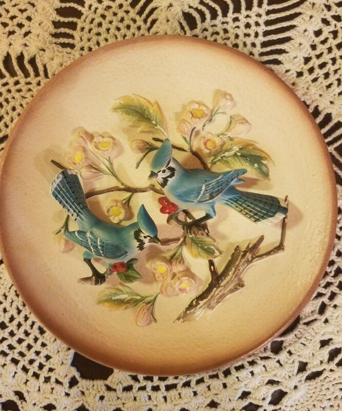 Vintage Original Napcoware Two Blue Jay Birds on Pottery Plate Hanger Japan