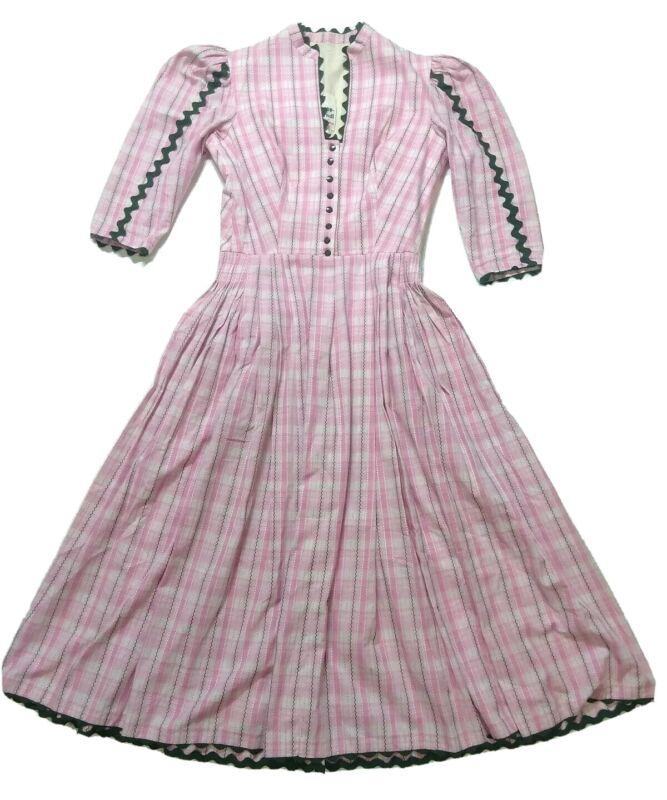 Vintage Rose Dirndl Aus Bayern Traditional Oktoberfest Maiden Dress Womens EU 38