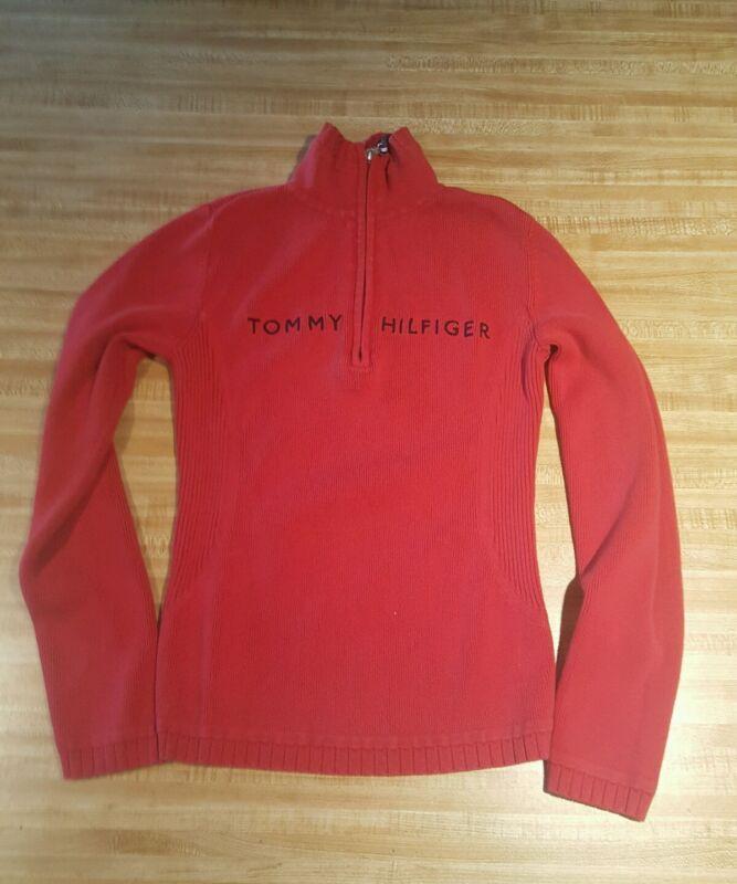 Tommy Hilfiger Spellout Youth Women Junior Sweater Medium Red Quarter Zip