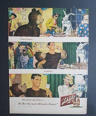 1949 Schlitz Beer Bear Hase Piraten Clown Kostüm Partei Anzeige