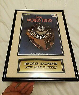 Reggie Jackson Autograph 1978 World Series Program NY Yankees HOF nice frame