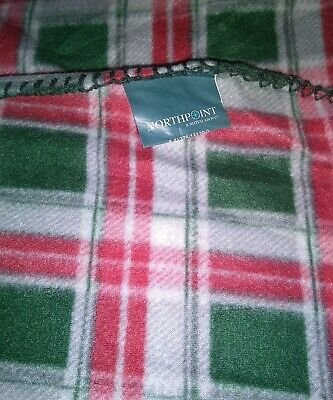 """Northpoint Holiday Fall Fleece Throw Blanket 50"""" X 60"""" NEW Red / Green Plaid"""