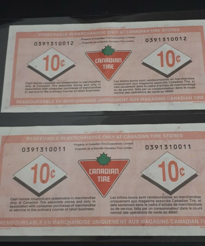 Canadian Tire Money 2 Consecutive 2011 10Cent Banknote Sequential