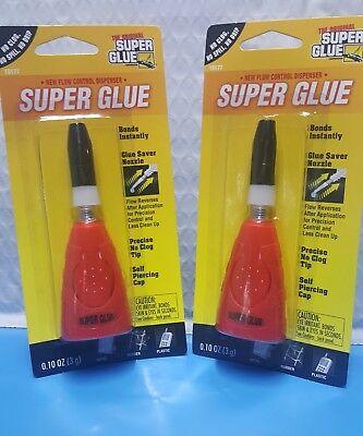 Lot Of 2 Super Glue The Original .10 Oz 3g New Flow Control Dispenser No Clog