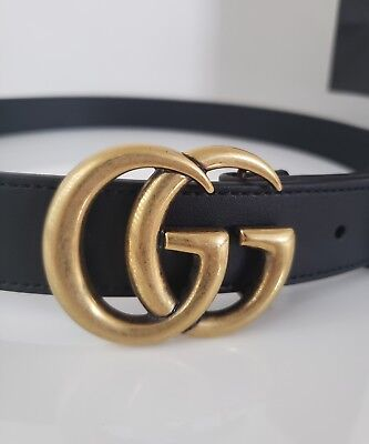 Gucci Marmont Belt 90 36 Smooth Black Leather Gold Gg