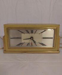 VINTAGE ART DECO SETH THOMAS GOLD ROMAN NUMERALS MANTEL CLOCK CLOCKS BEDROOM