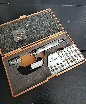 "Mitutoyo Screw Thread Micrometer 126-137 usedrange 0-1"" with ten sets of anvils"