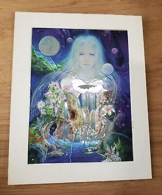 Pool Art - VINTAGE DUFEX FOIL ART PRINT Enchanted Pool in Space Made in ENGLAND 8x10 matted