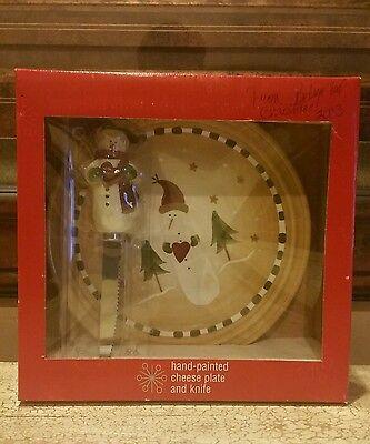 Kohl's Christmas Snowman Hand-Painted Ceramic Cheese Plate & Snowman Knife NIB
