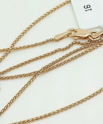 14k Rose Gold Round Diamond Cut Wheat Necklace Pendant Chain 18