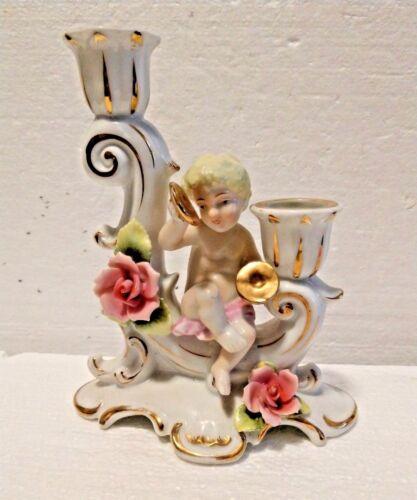 Vintage Porcelain Cherub Candlestick holder w/floral & gold Japan