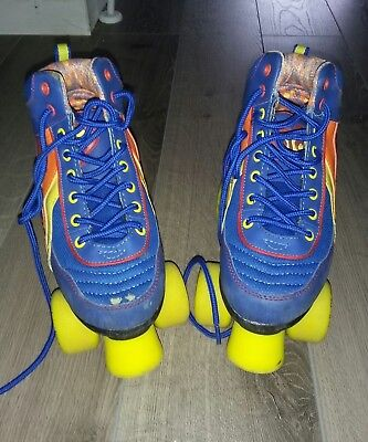 blue rio retro roller boots size 1 roller derby