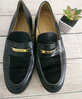 Vintage Gucci Womens Size 5.5 Name Plate Loafers Fur Black