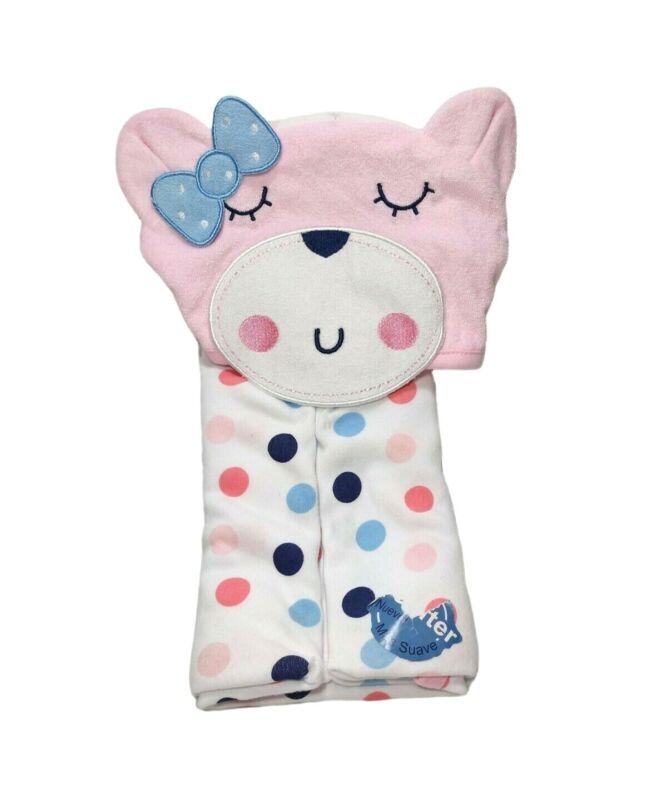 GERBER Baby Girl Pink BEAR Hooded Bath Towel Blue Polka Dot Bow NEW