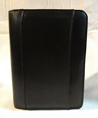 Real Leather Day Runner Classic Zippered Desk Planner Organizer Black 6 Ring